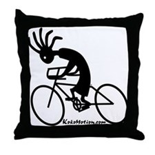 Kokopelli Road Cyclist Throw Pillow