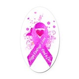 Pink Ribbon Vintage Oval Car Magnet