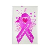 Pink Ribbon Vintage Rectangle Magnet (100 pack)