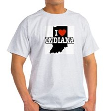 I Love Indiana Ash Grey T-Shirt