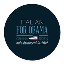 Italian For Obama Round Car Magnet