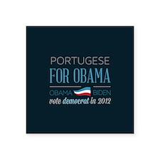 "Portugese For Obama Square Sticker 3"" x 3"""