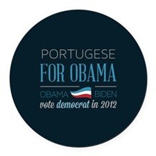Portugese For Obama Round Car Magnet