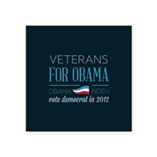 "Veterans For Obama Square Sticker 3"" x 3"""