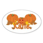 Halloween Pumpkin Katie Sticker (Oval)