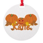 Halloween Pumpkin Katie Round Ornament