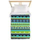 Bright Green Tribal pattern Twin Duvet