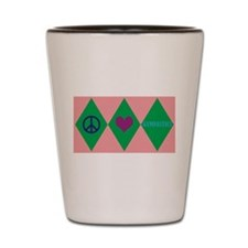 Argyle Peace Love Gymnastics Shot Glass