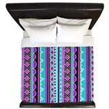 Blue and Purple Tribal Pattern King Duvet
