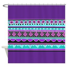 Blue and Purple Tribal Pattern Shower Curtain