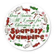 Dear Santa Vampire Round Car Magnet
