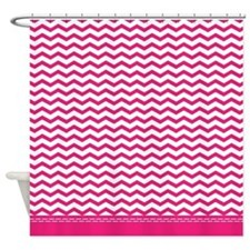 Hot Pink Chevron Shower Curtain