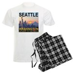 Seattle WA Skyline Graphics Sunset Men's Light Paj