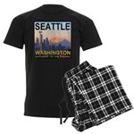Seattle WA Skyline Graphics Sunset Men's Dark Paja