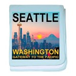 Seattle WA Skyline Graphics Sunset baby blanket