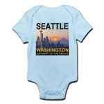 Seattle WA Skyline Graphics Sunset Infant Bodysuit