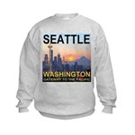 Seattle WA Skyline Graphics Sunset Kids Sweatshirt