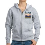 Seattle WA Skyline Graphics Sunset Women's Zip Hoo