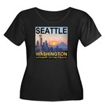 Seattle WA Skyline Graphics Sunset Women's Plus Si