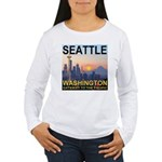 Seattle WA Skyline Graphics Sunset Women's Long Sl