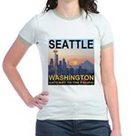 Seattle WA Skyline Graphics Sunset Jr. Ringer T-Sh