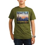 Seattle WA Skyline Graphics Sunset Organic Men's T