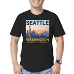 Seattle WA Skyline Graphics Sunset Men's Fitted T-