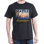 Seattle WA Skyline Graphics Sunset Dark T-Shirt