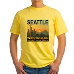 Seattle WA Skyline Graphics Sunset Yellow T-Shirt