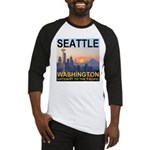 Seattle WA Skyline Graphics Sunset Baseball Jersey
