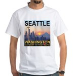 Seattle WA Skyline Graphics Sunset White T-Shirt