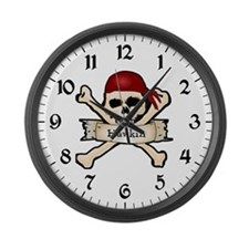 Personalized Pirate Skull Large Wall Clock