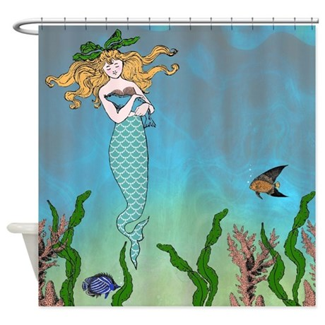 cartoon cute seal and mermaid shower curtain