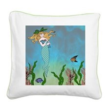 Vintage Mermaid Square Canvas Pillow