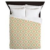 Peach & Olive Green Damask Queen Duvet