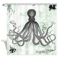 Green Grunge Octopus Shower Curtain