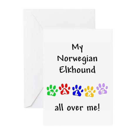 Norwegian Elkhound Walks Greeting Cards (Package o