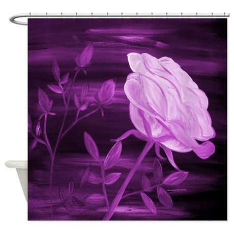 Purple Rose Abstract Shower Curtain By Markmoore
