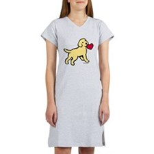 Yellow Lab Puppy Heart Women's Nightshirt