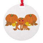 Halloween Pumpkin Kim Round Ornament