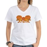 Halloween Pumpkin Kristin Women's V-Neck T-Shirt