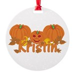 Halloween Pumpkin Kristin Round Ornament