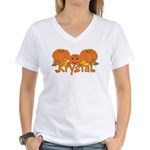 Halloween Pumpkin Krystal Women's V-Neck T-Shirt