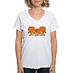 Halloween Pumpkin Krystal Women's V-Neck T-Shirt