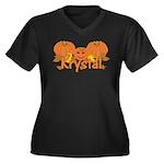 Halloween Pumpkin Krystal Women's Plus Size V-Neck