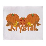 Halloween Pumpkin Krystal Throw Blanket