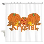 Halloween Pumpkin Krystal Shower Curtain