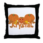 Halloween Pumpkin Krystal Throw Pillow