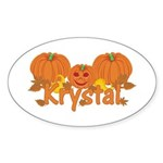 Halloween Pumpkin Krystal Sticker (Oval)