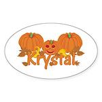 Halloween Pumpkin Krystal Sticker (Oval)
